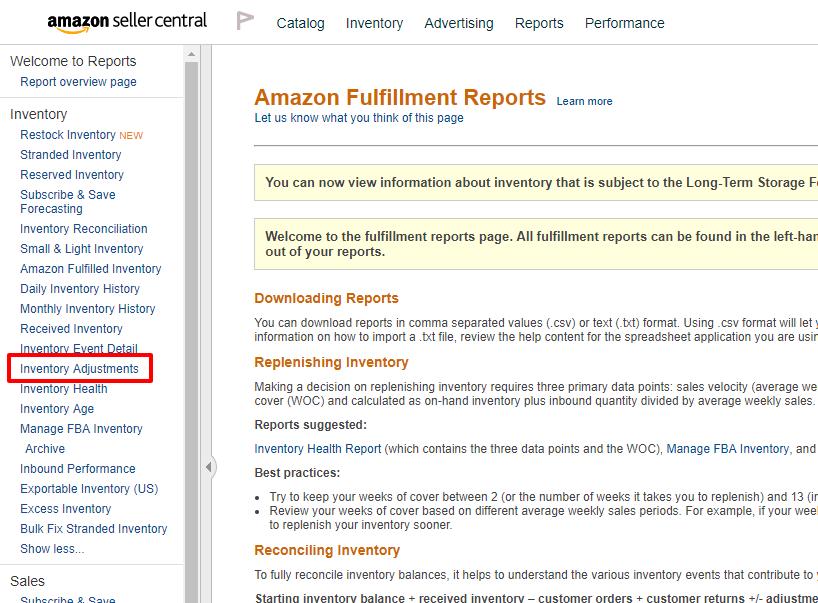 Fulfillment Reports Amazon