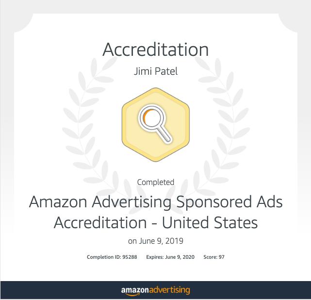 Amazon Ads Certificate - Jimi