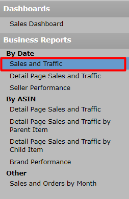 Amazon Dashboard>Business reports>Sales and Traffic