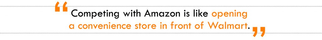 Competing with Amazon is like opening a convenience store in front of Walmart.