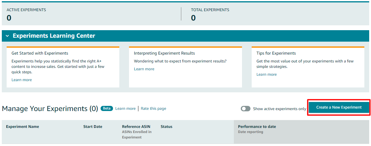 Select The ASINs For Which You Want To Run A/B Testing