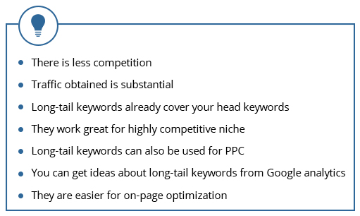 On the other hand, long term keywords are much less competitive and effective. They may be unpopular and low volume but tend to convert really well. Take a look at the image below to understand better.