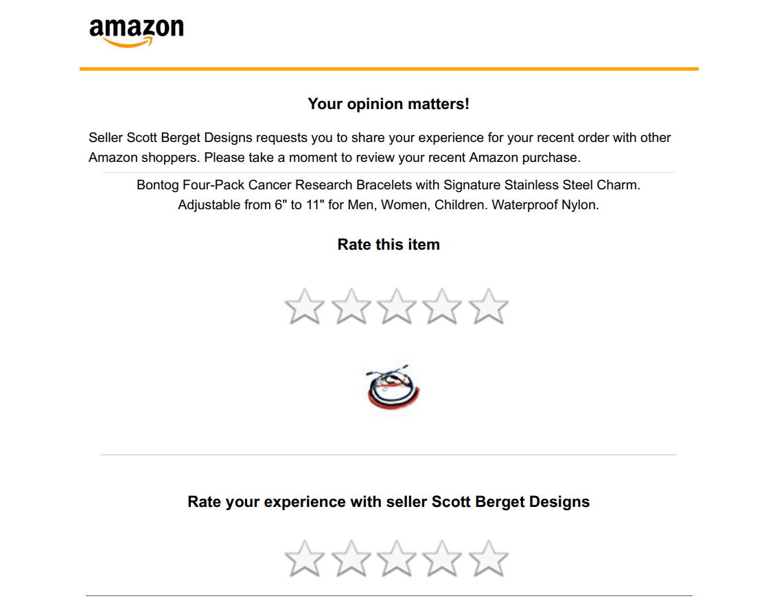 Amazon sends automatic follow-up email to your shoppers within four to 30 days of purchase. And with this feature, Amazon sends another email requesting for reviews.