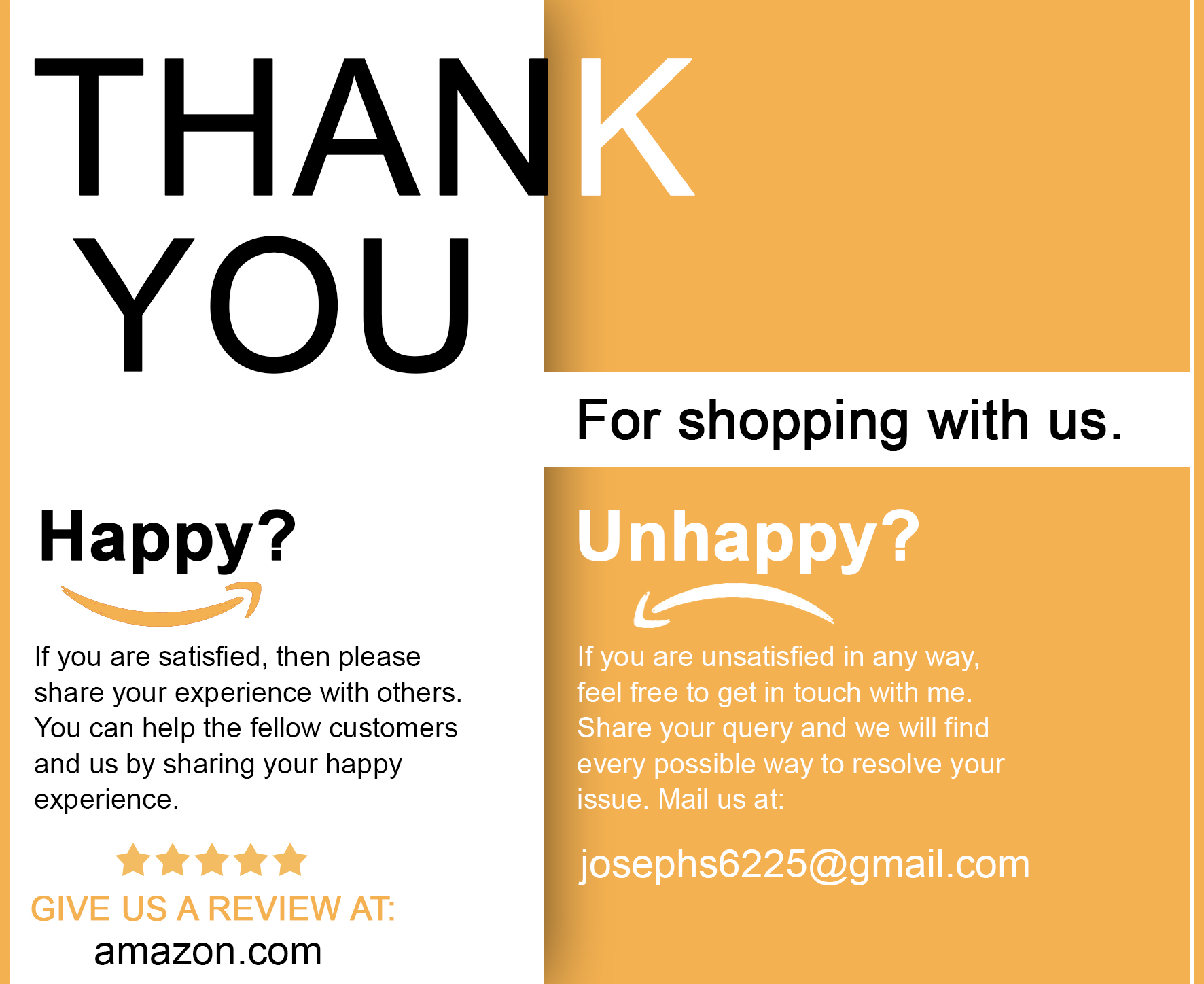 This is easily the most popular way to encourage buyers to leave reviews on Amazon. Many sellers insert a card like paper in their product packaging, asking shoppers to leave a review on Amazon.