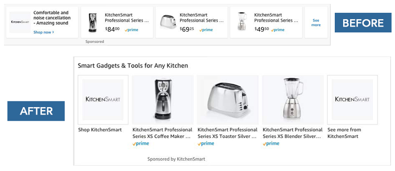 Amazon has increased the height of Sponsored Brand Ads on mobile devices. This change has been implemented to provide mobile users with a better shopping experience as the increased height makes both the product image and brand logo more prominent.