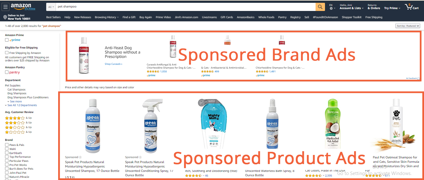 Sponsored Brand & Sponsored Product Ads to use keywords to the target audience while Sponsored Display Ads target audience on the basis of interests, views, product and categories. So, when a customer goes to an Amazon site and types what they are looking for in the search bar, Sponsored Product and Brand Ads appear, but Sponsored Display Ads don't.