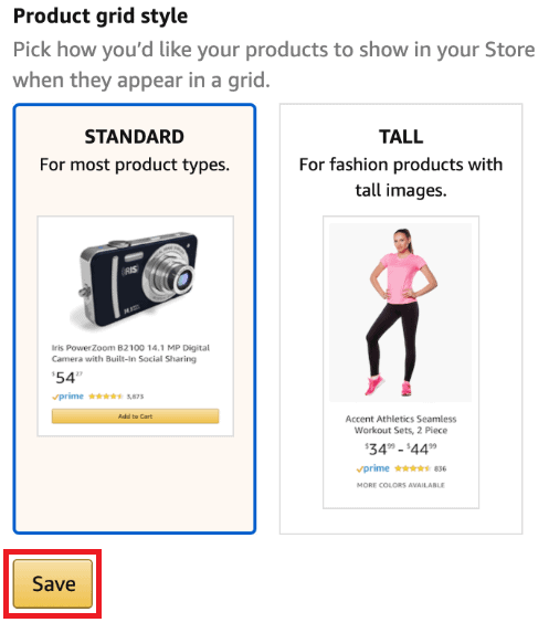 New tall product grid option available in Amazon seller storefront