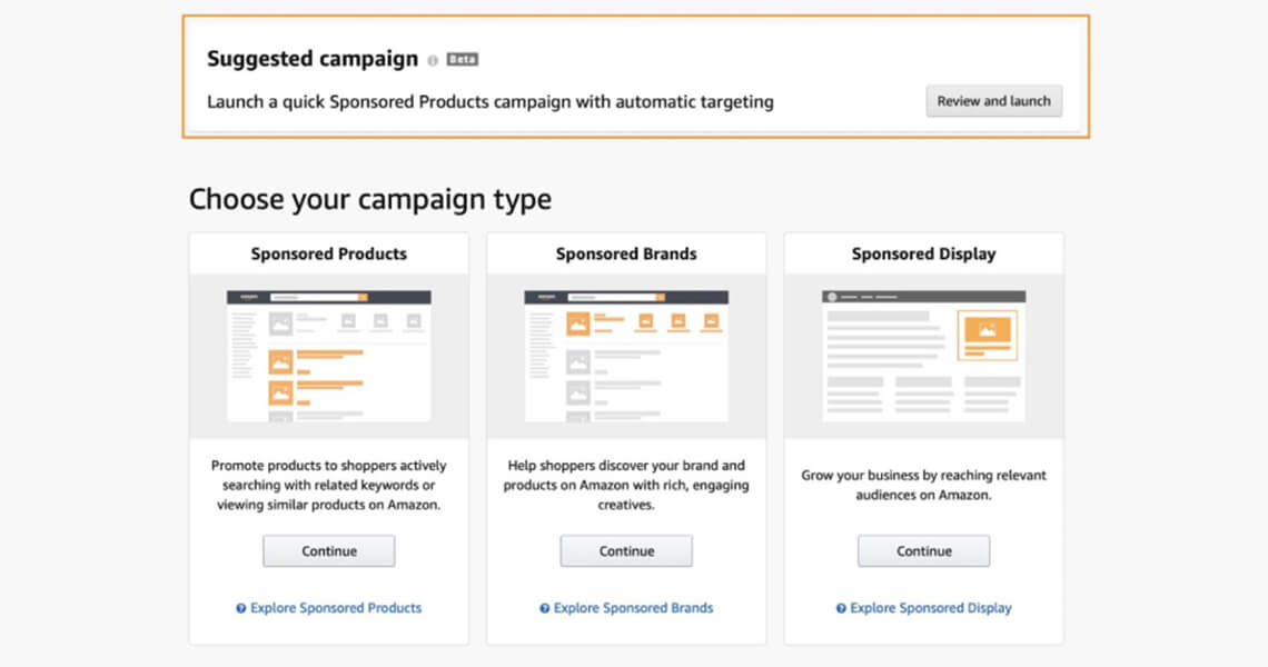 Amazon suggests campaign type for Amazon Sponsored Ads