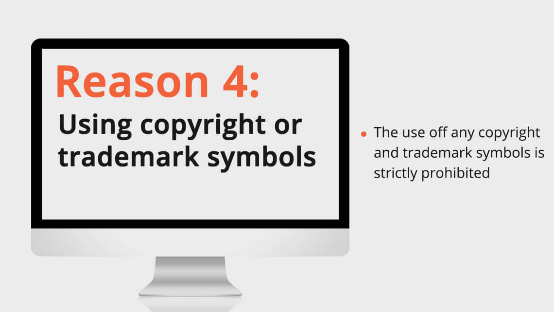 Using copyright or trademark symbols