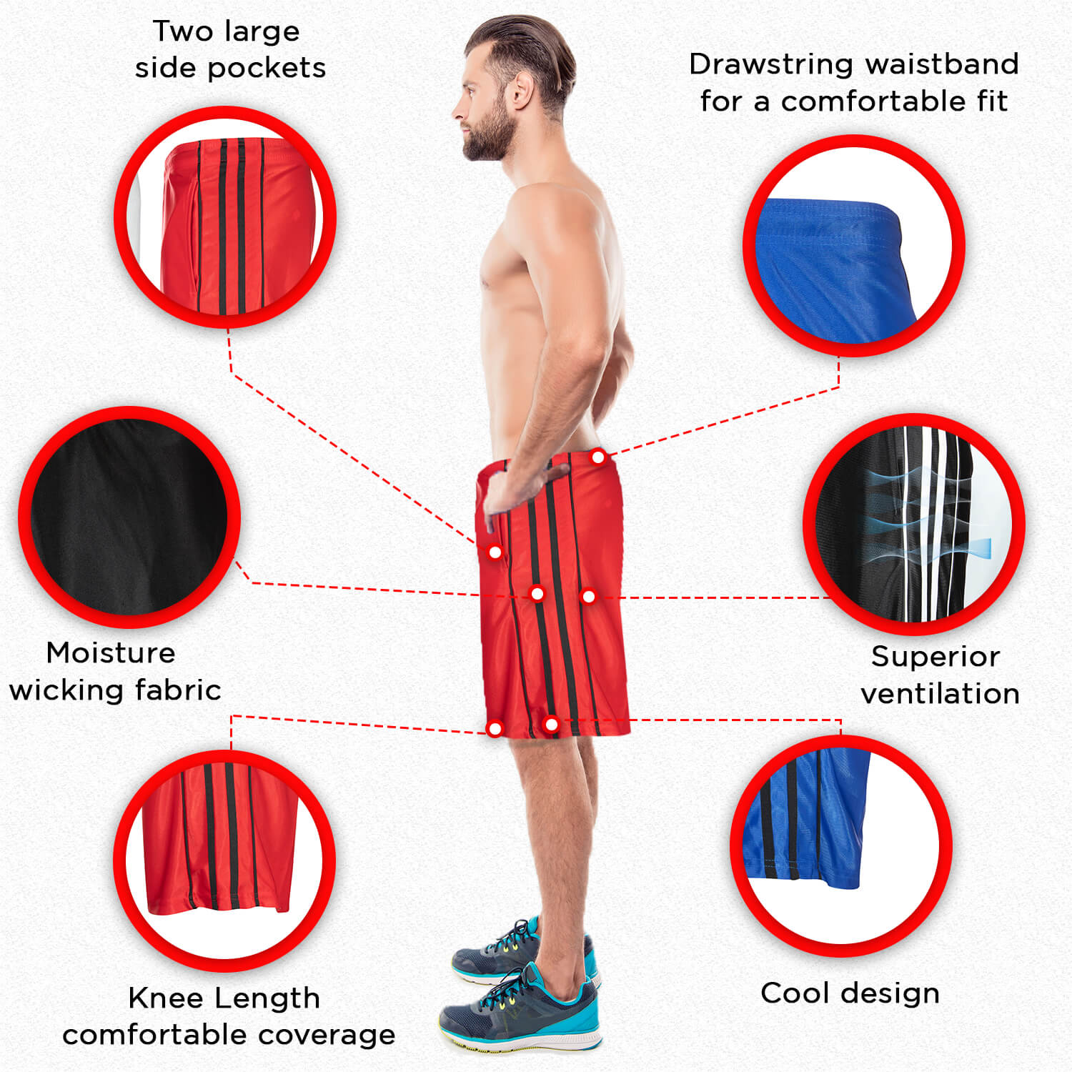 Infographic showing various angles and details of the product